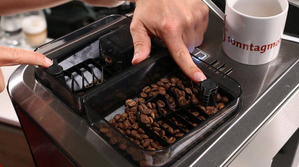 Kaffeebohnen im Bohnenfach eines Kaffeevollautomaten